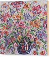 The Rainbow Flowers Wood Print