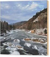 The Rapids In Winter Wood Print