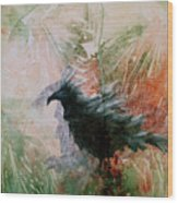 The Raven Sitting Lonely Wood Print