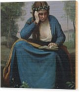 The Reader Crowned With Flowers Wood Print by Jean Baptiste Camille Corot