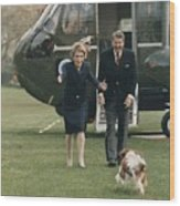 The Reagans Being Greeted By Their Dog Wood Print by Everett