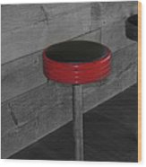 The Red Bar Stool Wood Print