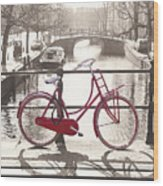 The Red Bicycle Of Amsterdam Wood Print