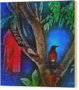 The Red Birdhouse Wood Print