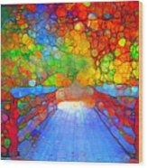 The Red Bridge In Autumn Wood Print