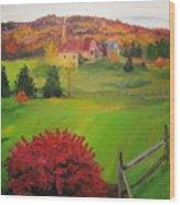 The Red Bush Wood Print