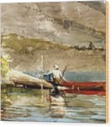 The Red Canoe Wood Print by Pg Reproductions
