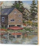 The Red Canoe Wood Print by Richard De Wolfe