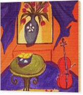 The Red Cello Wood Print