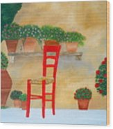 The Red Chair, Tuscany Wood Print