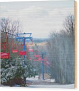 The Red Chairlift Wood Print