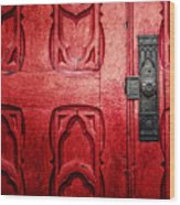 The Red Church Door Wood Print