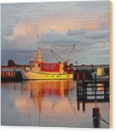 The Red Fishing Boat Wood Print