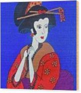 The Red Geisha Wood Print