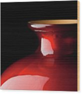 The Red Glass Vase Wood Print