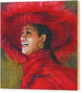 The Red Hat Wood Print by Billie Colson