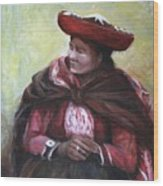 The Red Shawl  Wood Print
