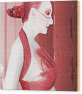 The Red Stripe - Self Portrait Wood Print
