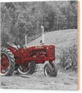 The Red Tractor Wood Print