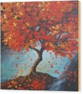 The Red Tree Wood Print