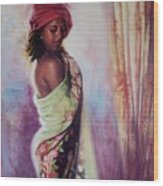 The Red Turban Wood Print