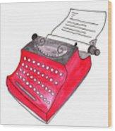 The Red Typewriter Wood Print