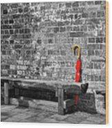 The Red Umbrella 2 Wood Print