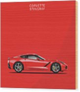 The Red Vette Wood Print