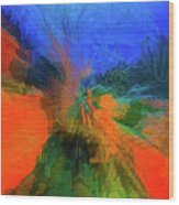 The Reef In Watercolor Abstract Wood Print
