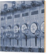 The Reel Spools On The Assembly Line In Blue Wood Print
