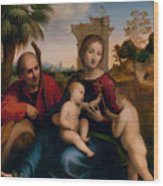 The Rest On The Flight Into Egypt With St. John The Baptist Wood Print