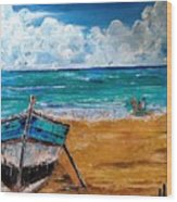 The Resting Boat And The Beach Holidays Wood Print