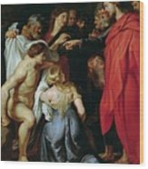 The Resurrection Of Lazarus Wood Print by Rubens