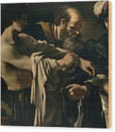 The Return Of The Prodigal Son Wood Print by Giovanni Francesco Barbieri