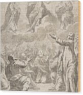 The Risen Christ Between The Virgin And St. Joseph Appearing To St. Peter And Other Apostles Wood Print