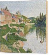 The River Bank Wood Print by Paul Signac
