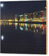 The River Liffey Night Romance Wood Print