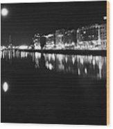 The River Liffey Night Romance Bw Wood Print