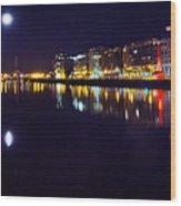 The River Liffey Night Romance V2 Wood Print