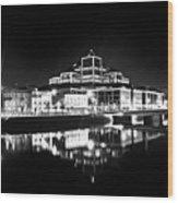 The River Liffey Reflections 2 Bw Wood Print
