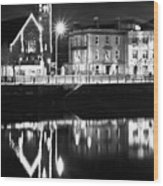 The River Liffey Reflections Bw Wood Print