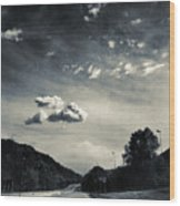 The Road And The Clouds Wood Print
