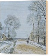 The Road, Snow Effect Wood Print