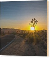 The Road To Joshua Tree At Sunset Wood Print