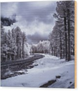 The Road To Snow Wood Print