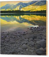 The Rockies Reflected At Lake Annettee Wood Print