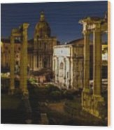 The Roman Forum At Night Wood Print