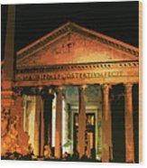 The Roman Pantheon At Night Wood Print