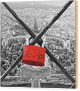 The Romantically Love Inscribed Padlocks On The Eiffel Tower, Pa Wood Print