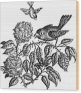 The Roses And The Sparrow Wood Print